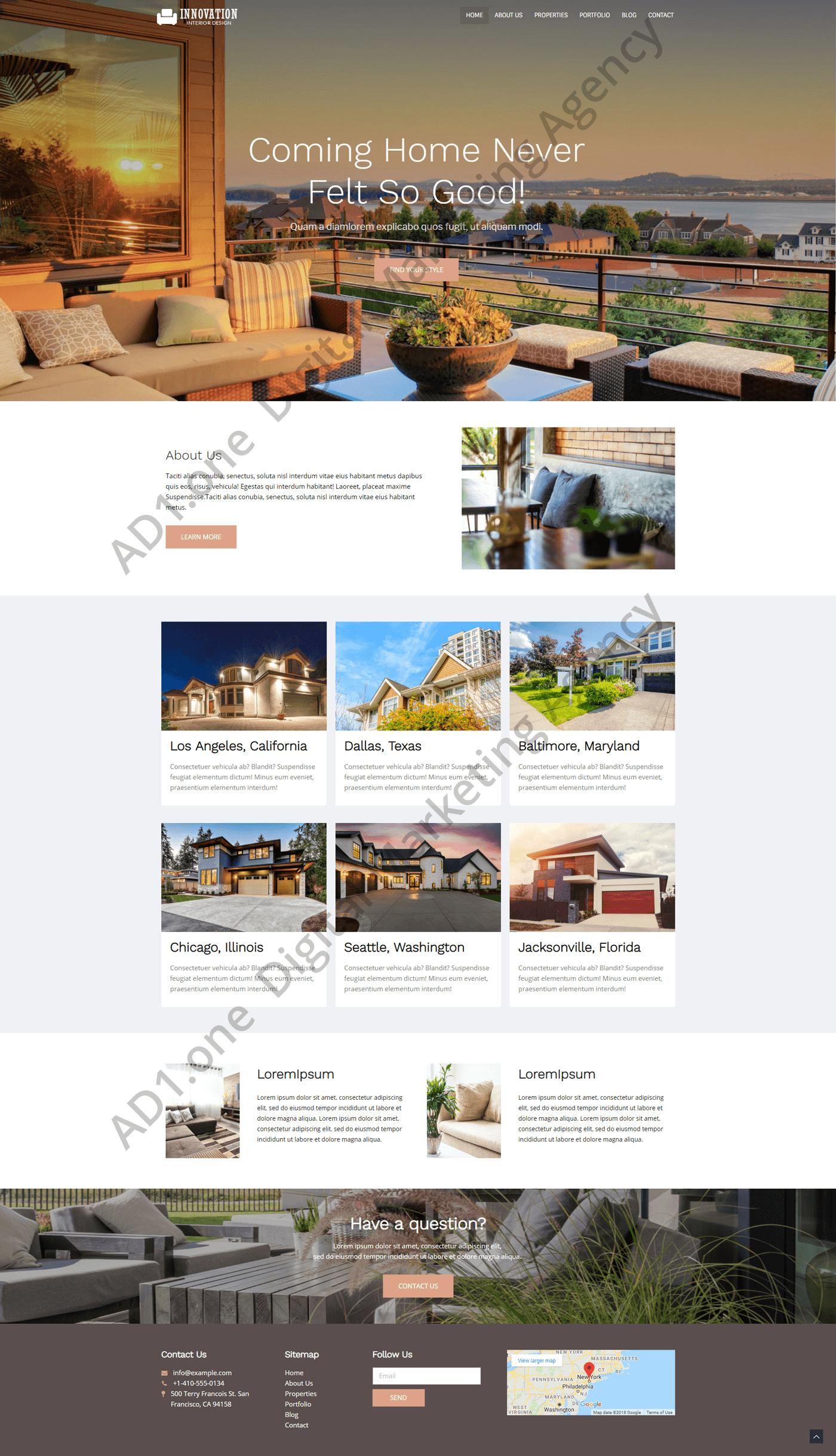 Palo Alto- ad1 agency website desing Real Estate project